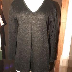Mims/Cole metallic v-neck sweater